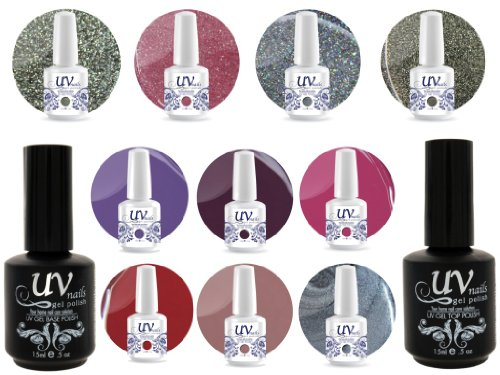UV Nail Gel Profesionnel Collection CandyLand 4 Paillettes Vibrante+6 Gels+Base&Top+Polissoir & Lime a Ongles Aviva