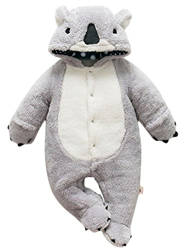 Jungen Fleece Overall Winter Strampler Jumpsuit Karneval Fasching Kostüme (Grau, 6-9 M) (Halloween-fleece-stoff)