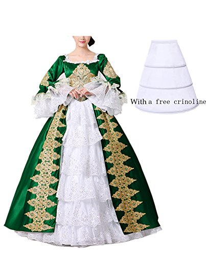 NuoqiDamen Satin Gothic Victorian Prinzessin Kleid Halloween Fancy Dress Cosplay Kostüm Party Maxi Kleid (38, ()