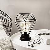 ELINKUME® Diamond Form Schreibtischlampe batteriebetriebene nordischen Stil Eisen Nachttischlampe Nachtlicht dekorative Beleuchtung für Schlafzimmer, Wohnzimmer, Bar, Hotel (Schwarz)