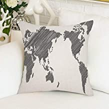 Funda de Almohada Mapa del Mundo Sketchy Striped Charcoal Gray White Home Almohada Funda de Almohada
