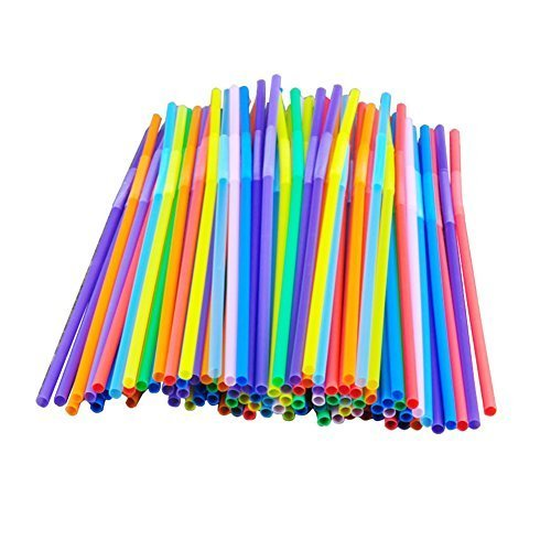 100 pcs Colorful Extra Long Flexible Bendy Party Disposabl Drinking Straws by chendongdong -