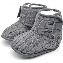 Itaar® – Calzado para niños de 3a 18meses. Botas de invierno, antideslizantes. De princesa, con lazo. Ideal antes de empezar a andar. 3 tamaños, 5 colores
