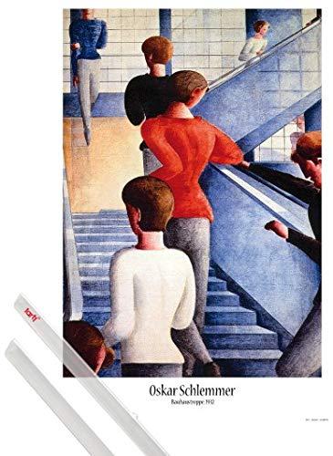 1art1 Poster + Hanger: Oskar Schlemmer Poster (91x61 cm) Bauhaustreppe, 1932 Inklusive EIN Paar...