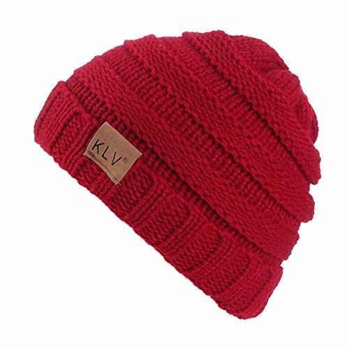 trickmüTze MäNner Frauen Baggy Crochet Winter Wolle Stricken Ski Beanie SchäDel Slouchy Caps Hut(Einheitsgröße,Weinrot) ()