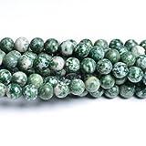 Filo 32+ Verde/Bianco Agata Arborizzata 10mm Tondo Liscio Perline - (CB32060-4) - Charming Beads