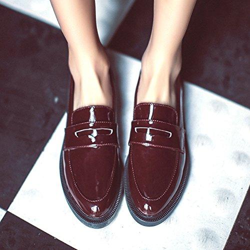 Damen Weiche Anti-Rutsche Sohle Low-Top Freizeit Schuhe Lackleder Blockabsatz Süße Prizessin Schuhe Rot