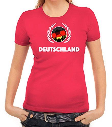 ShirtStreet Germany Wappen Soccer Fussball WM Fanfest Gruppen Fan Wappen Damen T-Shirt Fußball Deutschland Pink