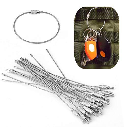 Semme Draht Schlüsselanhänger, 40Pcs Edelstahl Draht Schlüsselanhänger Kabel Seil Schlüsselring Loops mit Schraubensicherung für hängende Gepäckanhänger oder ID-Tags -