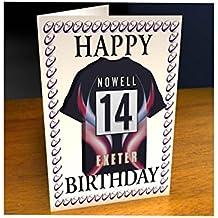 Aviva Premiership.–Rugby Club Jersey–Imán para Frigorífico–Tarjeta de cumpleaños cualquier nombre, cualquier número, Cualquier Team–Personalización Gratuita., hombre mujer Infantil, Exeter Chiefs Rugby Club Fridge Magnet Card