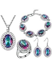 ab68d7621e52 AnaZoz Joyería de Moda Juegos de Joyas de Mujer Cristal Austriaco Chapado  en Plata Forma Óvalo Piedra Multicolor Collar y Pendientes…