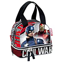 Marvel Civil War Justice Captain America and Iron Man School Lunch Bag (Red)