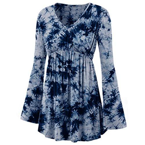 Bluse Damen Frauen Tops Mode V-Ausschnitt Tie-Dye Gedruckt Langarm Shirt Plissee Taille Linie Oberteil Damen Langarmshirt Damen Übergröße Langshirt Tunika (Dye Tie Michaels)