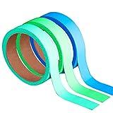 3 Rotoli Nastro Luminoso nel Buio, Nastro Fluorescente Removibile Impermeabile Nastro 49.2 Piedi x 0.8 Pollici/ 15 m x 2 cm Totalmente per Parete, Passi, Segnale d'Uscita