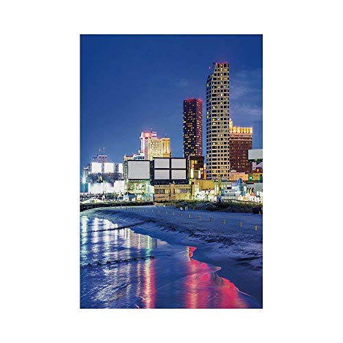 Liumiang Eco-Friendly Manual Custom Garden Flag Demonstration Flag Game Flag,City,Resort Casinos on Shore at Night Atlantic City New Jersey United States,Violet Blue Pink Yellowe d¨¦COR