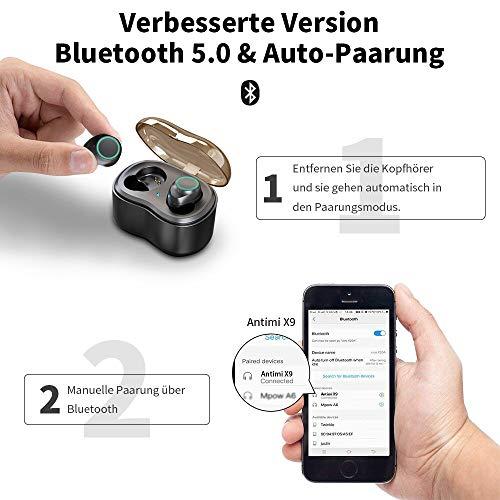 Antimi Bluetooth Kopfhörer, Bluetooth 5.0 Bluetooth Headphones Drahtlos Kopfhörer Stereo-Minikopfhörer IPX6 Wasserdicht Kopfhörer in Ear mit Ladebox und Integriertem Mikrofon für Android und iPhone - 2