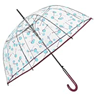 Transparent Dome Umbrella for Woman Girl - Long Bubble Stick Umbrella - Cherries Print and Red Details - Windproof Brolly in Fiberglass - PFC Free - Automatic Opening - Diameter 89 cm - Perletti Chic