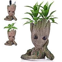 Udream Groot Plant Pot FlowerPot Cartoon Flowerpot Figures Cute Model, Groot Succulent Planter Cute Green Plants Flower Pot with Hole Groot Pen Pot