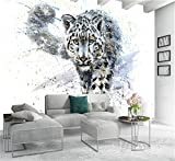 3D Kreative Kunstdrucke Bilder Blaue Augen Leopard Tiger Leinwand Ölgemälde Tapete Schwarz Und Weiß Tier Poster Home Deco, 350 cm X 245 cm