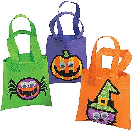 3 x Halloween Tasche Beutel Spinne Kürbis Hexe Halloweenparty Gruselparty Kulleraugen Kinder Party (Zauberhafte Hexe Kind Kostüme)