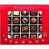 Hallingers 20er Pralinen-Mix handgemacht, mit/ohne Alkohol (240g) - Frohes Fest Rot (Pralinenbox) - zu Weihnachten