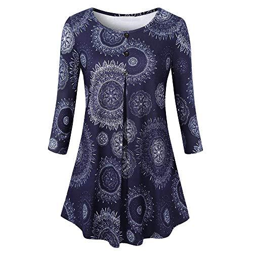 Elegant Damen Oberteil Langarm O Neck Printed Flared Floral Beiläufig Täglich Geschäft Trainieren Tops Tunika T-Shirt Bluse Pulli(X3-Blau, EU-46/CN-2XL) ()