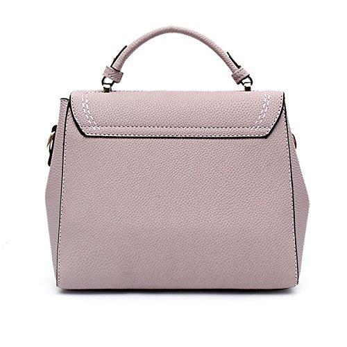 Mode Gitter PU-Leder-Umhängetasche Handtaschen-Schulter Top-Griff Tasche Für Frauen Multicolor Purple