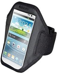 handy-point Armhalter, Armband für Sport, Laufen, Joggen für Samsung Galaxy S4, S5, S5 Neo, S6, S7, A5 2016, Alpha, Grand Neo, Sony Xperia Z1, Z2, Z3, Z3+, Sony Z5 Compact, HTC One M8, M9,One E8, A9, Desire Eye, 620, LG L Bello, G3s, L80, G2, Lumia 535, 930, 830... Universell 14,5 cm x 8 cm mit Fach für Schlüssel, Kopfhörer, Schwarz