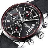 NIBOSI Herren Luxus Kalender, Datum, Chronograph, Quarzuhrwerk, Herren, Sport-Armbanduhren für Business + Geschenkbox