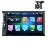 LWTOP Autoradio-Doppel-Din, 7-Zoll-Touchscreen in Dash Autoradio-Receiver Audio-Video-Player unterstützt Bluetooth/TF/USB/AUX