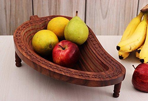 Wooden Mango Shape Fruit Basket Bread Snack...