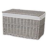 Grey Wash Wicker Storage Trunk Chest Basket