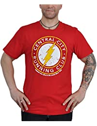 Flash - Camiseta de el super héroe DC Comics - Motivo running club frontal con licencia oficial - Rojo