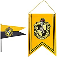 Cinereplicas Harry Potter - Juego de Banderas y Banderín - 30 x 43 cm - Oficial (Hufflepuff)