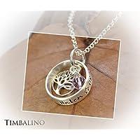 Namenskette, 925 Silber, Lebensbaum, Geburtsstein