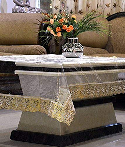 Kuber Industries PVC 4 Seater Transparent Centre Table Cover   Golden
