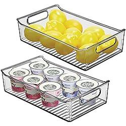 mDesign boite alimentaire pour la cuisine (lot de 2) - boite rangement frigo en plastique - boite plastique alimentaire pour produits laitiers, fruits et autres aliments - gris fumé