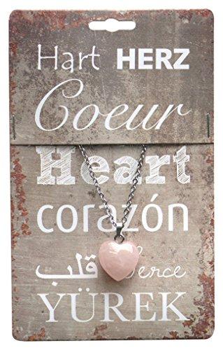 steengoed quarzo rosa cuore pietra con catena in acciaio inox, pietra, colore: rosa - Quarzo Rosa Cuore