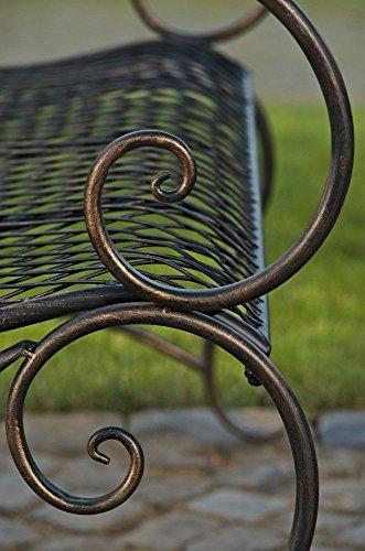 formschöne Gartenbank im Landhausstil aus Eisen / Metall Sitzbank mit Ornamenten bronzefarben 2-3er Parkbank Antikes Design - 9