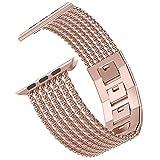Wearlizer für Apple Watch Armband 42mm 44mm, Edelstahl Metall iWatch Straps Ersatzband Uhrenarmband Wristband Zubehör für Apple Watch Serie 4 / Serie 3 / Serie 2 / Serie 1 - Series 4&3 Gold