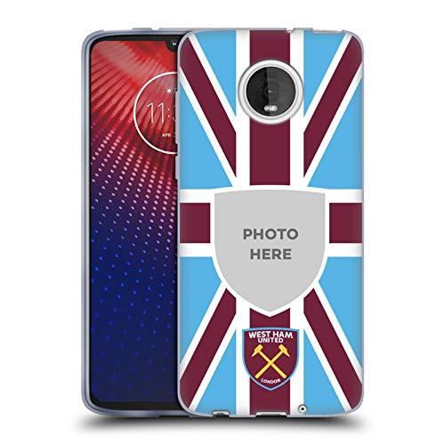 Personalizzata Personale West Ham United FC Union Jack Bandiera 2018/19 Foto Cover in Morbido Gel Compatibile con Moto Z4 / Z4 Play / Z4 Fo