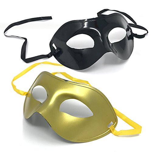 2 Pack - Maskerade Maske / Venezianische Maske in Schwarz und Gold – ideale Augenmaske für Halloween-Partys, Maskenbälle oder Karneval – geeignet für Damen und Herren (Masken Für Maskenbälle)