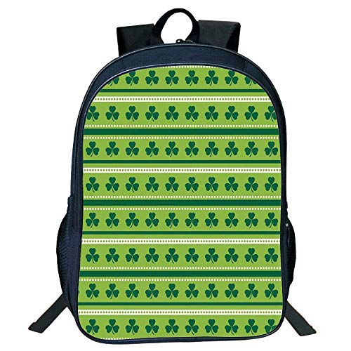 HOJJP Schultasche Stylish Unisex School Students Green,Traditional Irish Pattern Clovers Happy St. Patricks Day Theme,Lime Green Dark Green White Kids, - Day Patricks Männern St Outfits Den