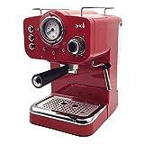 ARIELLI KM-501R Modello 2019 Macchina Caffè Espresso Macinato/Cialde 2 Filtri per 1/2 tazze Vaporizzatore per tè o cappuccino Sistema di sicurezza Termometro 1100W 15bar 1.25L (Rossa)