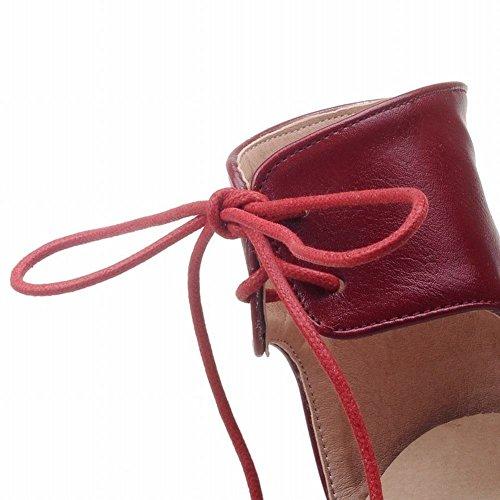 Tira No Aberto Grosso Sapatos Doce Calcanhar Dedo Elegante Senhoras Cinta Tinto Ajustável Vinho Moderno Laço Sandálias Mee Tornozelo E SxYqXWFF