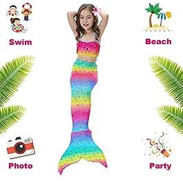 3 Pezzi Ragazze Marmaids Sirena Costume da Bagno Swimsuit Swimwear Bikini Set Monopinna 3-12 anni