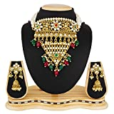 #6: The Luxor Gold Plated Pearls & Kundan Haram Mala Choker Necklace Set with Earrings for Women & Girls