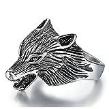 KnSam Herren-Ring Titan Stahl Punk Wolf Kopf Retro Ringe für Männer Breite 25mm Silber Größe 65 (20.7) Modeschmuck