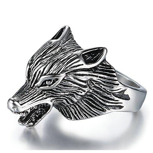 Kostüm Herren Ring Werfen - Aeici Edelstahl Ring Herren Wolfskopf Punk Stil Ringe Silber Breit 25Mm Größe 60 (19.1)