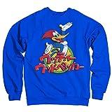 Woody Woodpecker Licenza Ufficiale Washed Japanese Logo Felpa (Blu) X-Large